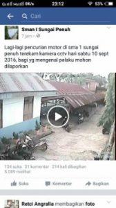 Aksi Curanmor di SMAN SPN Terekam CCTV