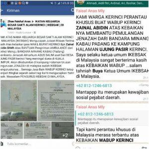 UCAPAN: IKEBSAK di Malaysia untuk Wabup Kerinci Zainal Abidin Di Fb dan Grub Whatsaap.
