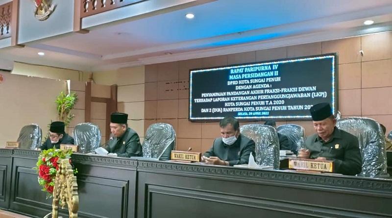 DPRD Kota Sungaipenuh Gelar Paripurna  Terkait LKPJ & Dua Ranperda